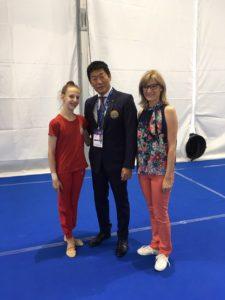 Nastasija i Milena sa Predsednikom FIG - Morinari Watanabe